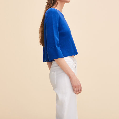 Cropped jumper in run-resistant knit - Sweaters - MAJE