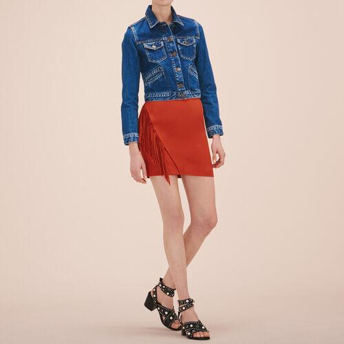 Falda corta con flecos - Faldas y shorts - MAJE