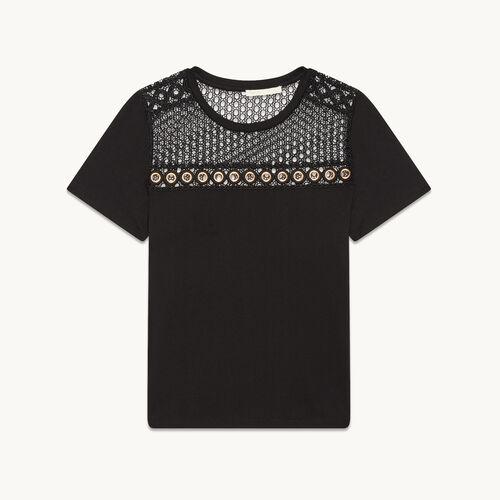 Camiseta de algodón con bordado - Tops - MAJE