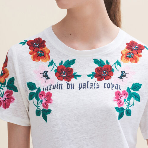 Embroidered T-shirt - Tops - MAJE