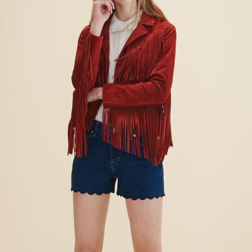 Leather fringed jacket - Coats & Jackets - MAJE