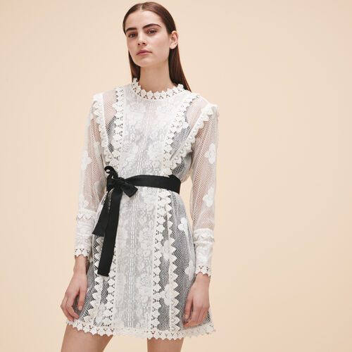 Lace dress with belt - Dresses - MAJE