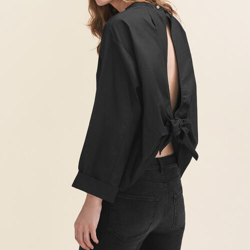 Wide-cut blouse with open back - Tops & T-Shirts - MAJE