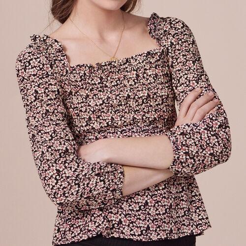 Long-sleeved printed top - Tops & T-Shirts - MAJE