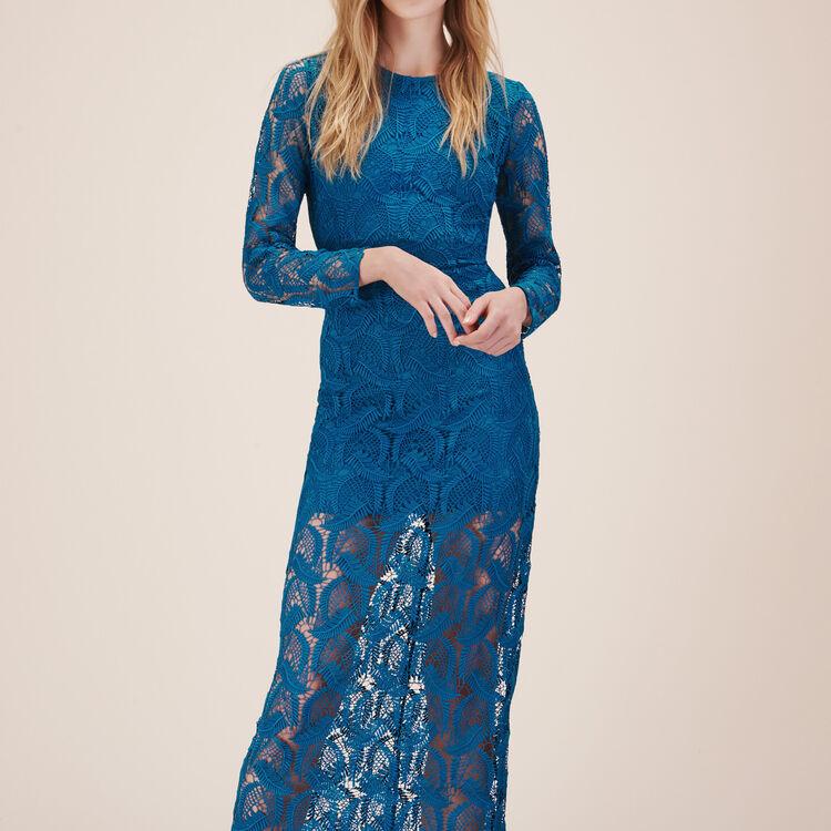 Robe longue en dentelle fantaisie - Robes - MAJE