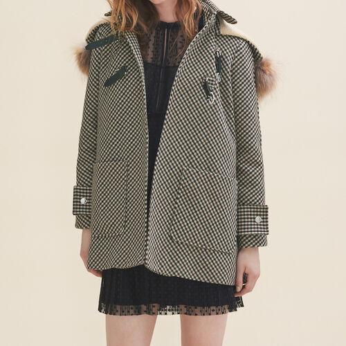 Coat with Prince of Wales-style checks - Coats & Jackets - MAJE