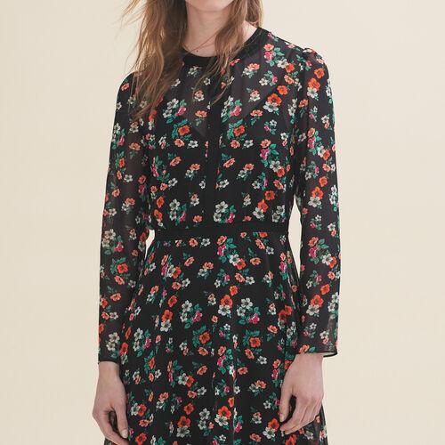 Printed dress with ribbed braid trim - Dresses - MAJE