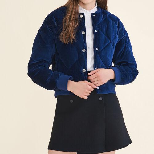 Cropped velvet bomber jacket - Coats & Jackets - MAJE