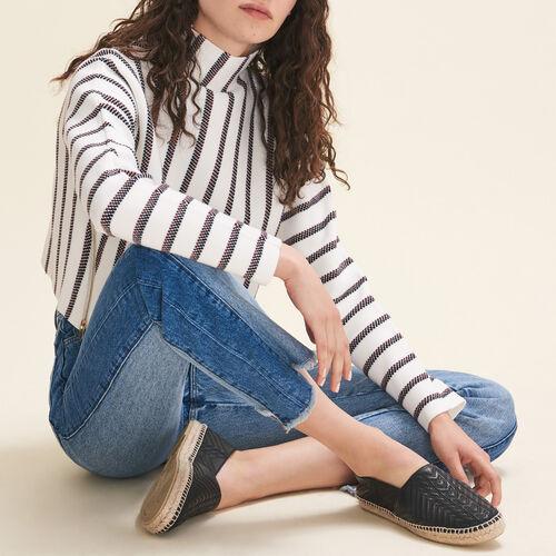 Stripped cropped locknit sweater - Sweaters - MAJE