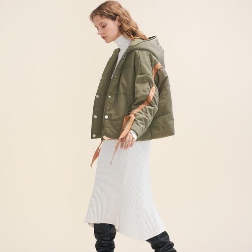 Cropped hooded down jacket - Coats - MAJE