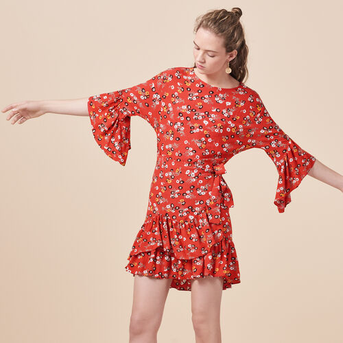 Printed dress with frills - Dresses - MAJE