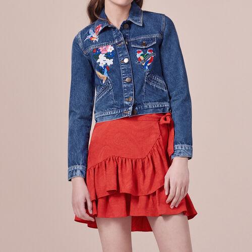 Embroidered denim jacket - Coats & Jackets - MAJE
