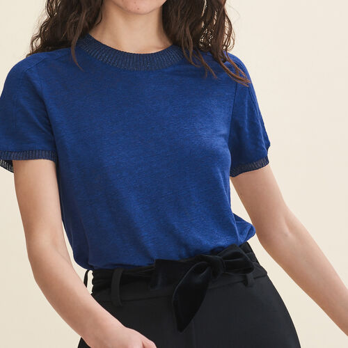 Round neck linen t-shirt - Tops & T-Shirts - MAJE