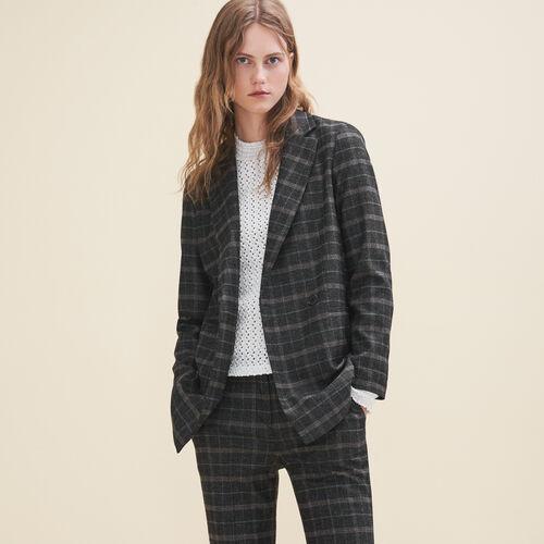 Long tartan jacket - Coats & Jackets - MAJE