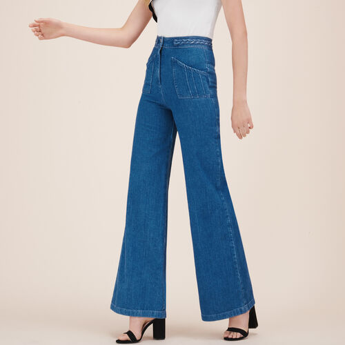 Wide-leg jeans with woven detail - Jeans - MAJE