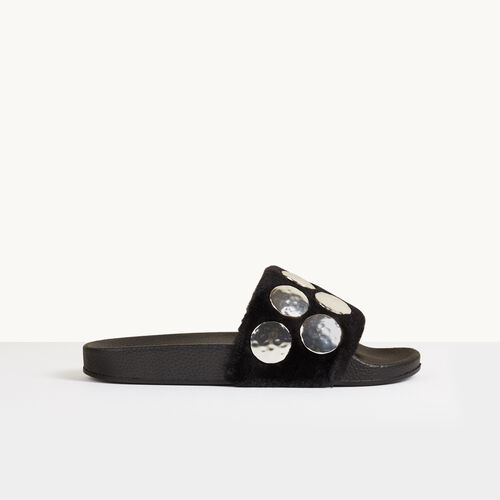Shearling mules with studs - Shoes & Accessories - MAJE