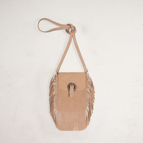 Suede shoulder bag with fringes - All bags - MAJE