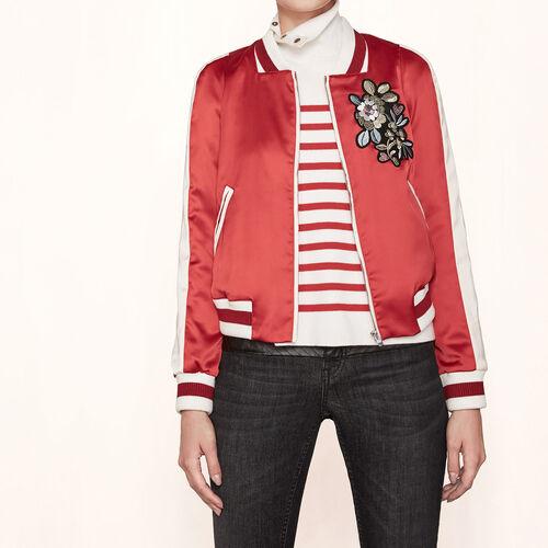 Varsity-style embroidered satin jacket - Jackets & Bombers - MAJE