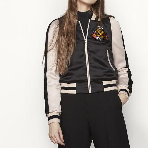 Varsity-style two-tone satin jacket - Coats & Jackets - MAJE