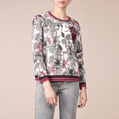 Printed cotton embroidered sweatshirt - Tops & T-Shirts - MAJE