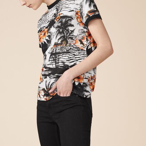 Printed linen T-shirt - Tops & T-Shirts - MAJE