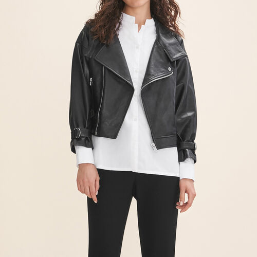 Fitted leather jacket - Coats & Jackets - MAJE