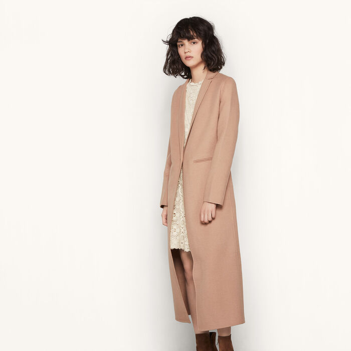 GALAXIE Long double-sided wool coat - Coats & Jackets - Maje.com