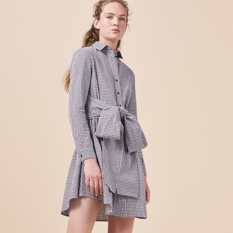 Robe-chemise imprimée vichy - Robes - MAJE